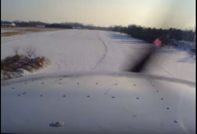Approaching a snow covered runway