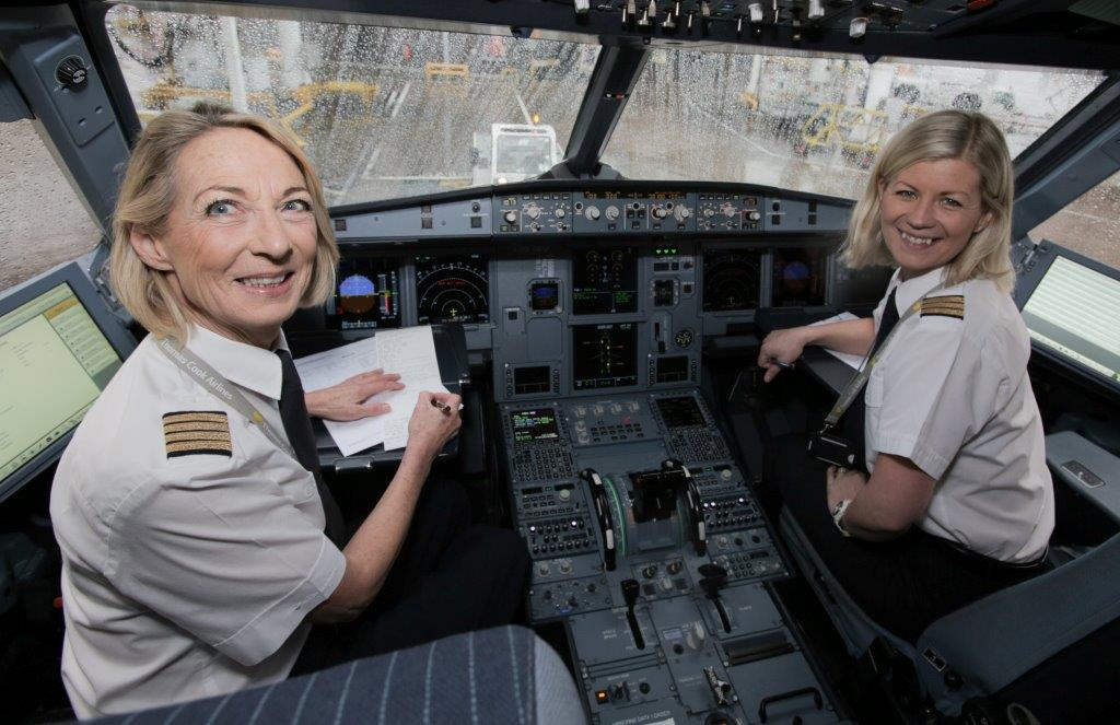 Thomas Cook Airlines International Women's Day Captain Jane Paros and First Officer Berglind Rafnsdsttir-Teasdale