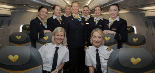 Thomas Cook Airlines International Womens Day Full Crew L-R Kelly Adrio Susanne Johnston Lindsay Dixon Victoria Starkey Stephanie Ashall Faye Emanuel Victoria Britland